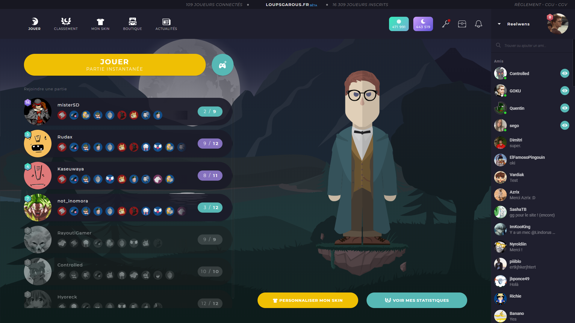 Interface d'accueil de LoupsGarous en Dark mode