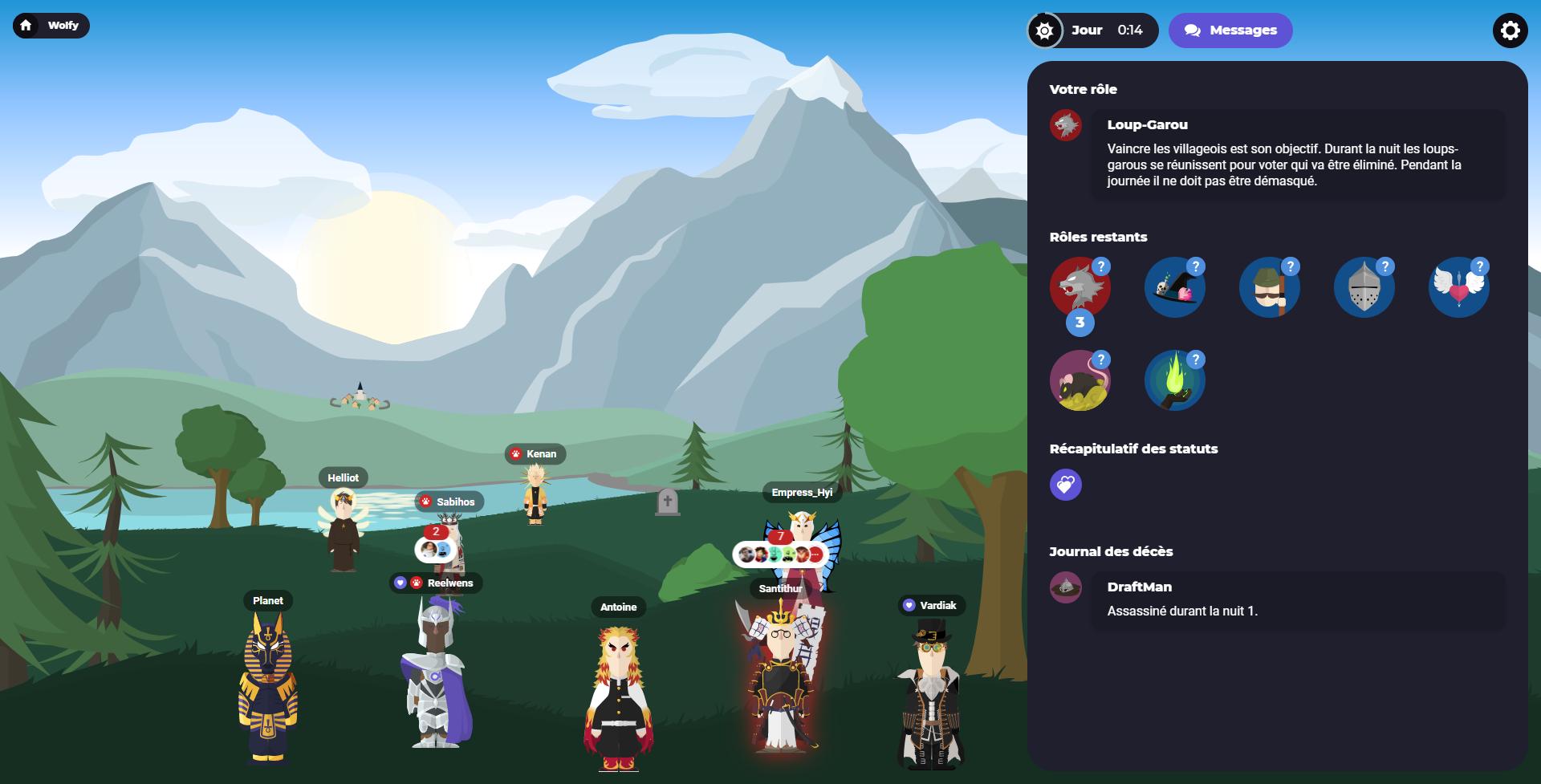 Screenshot milieu de partie sur Wolfy